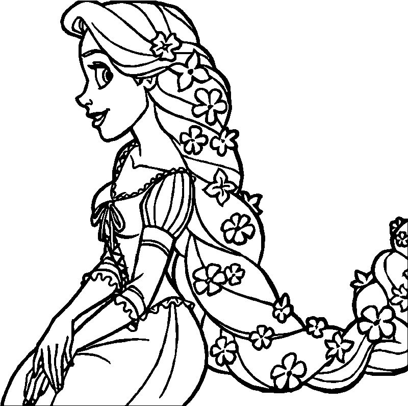 Rapunzel And Flynn Flower Hair Coloring Page