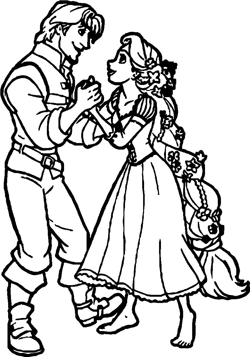 Rapunzel And Flynn Meet Coloring Page