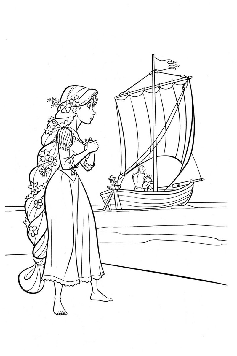 Rapunzel Color Pages Ship