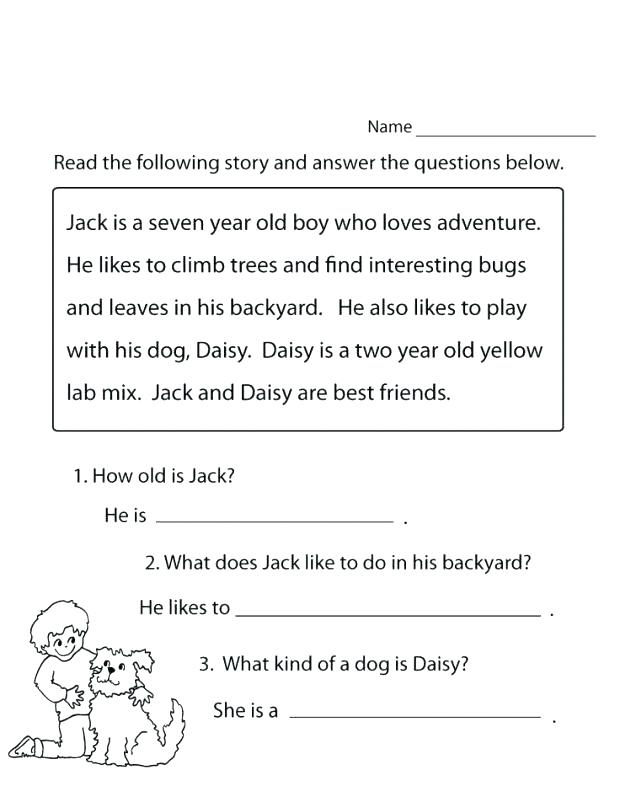 Read And Answer 1st Grade Worksheet