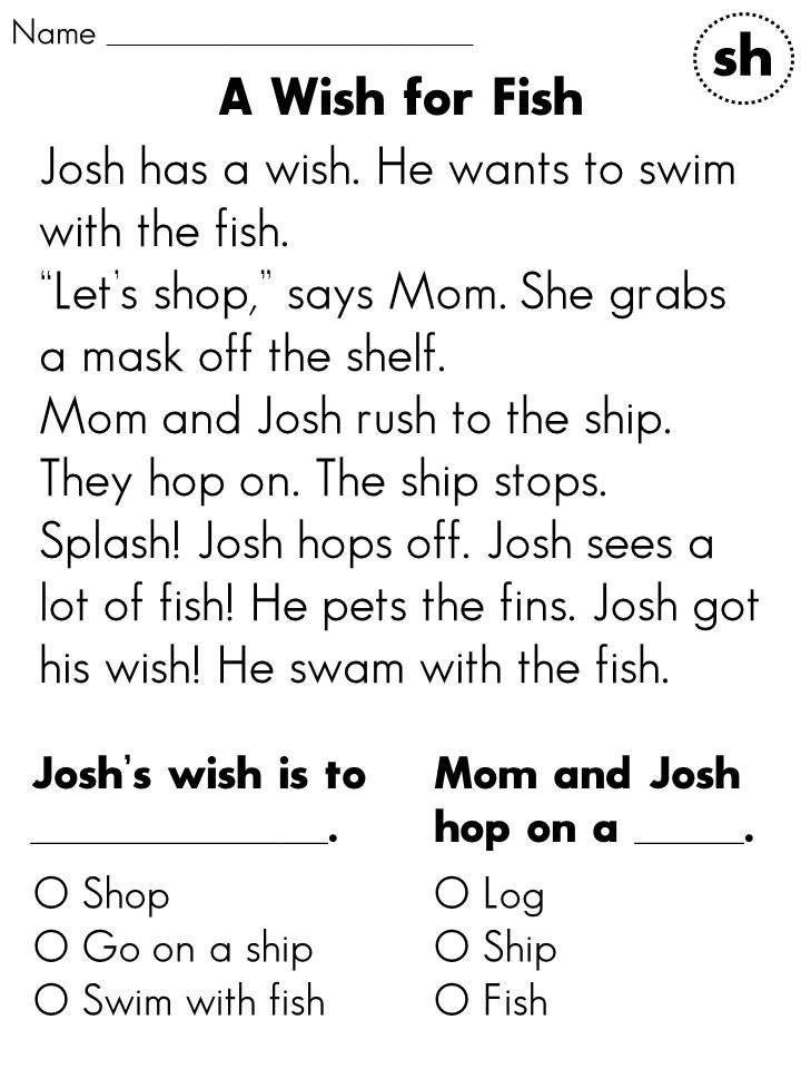 Reading Comprehension Worksheet 1st Grage