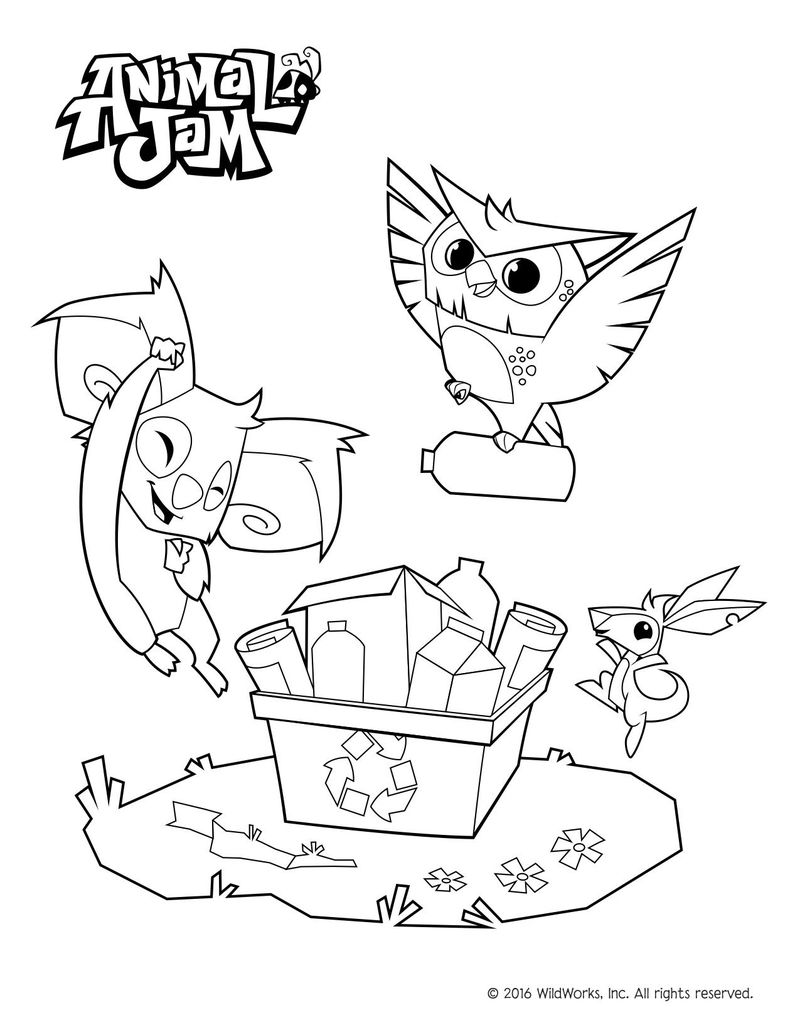 Recycling Animal Jam Coloring Pages