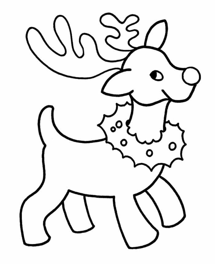 Reindeer Christmas Coloring Pages For Preschoolers
