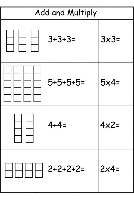 Repeated Addition Worksheets 001