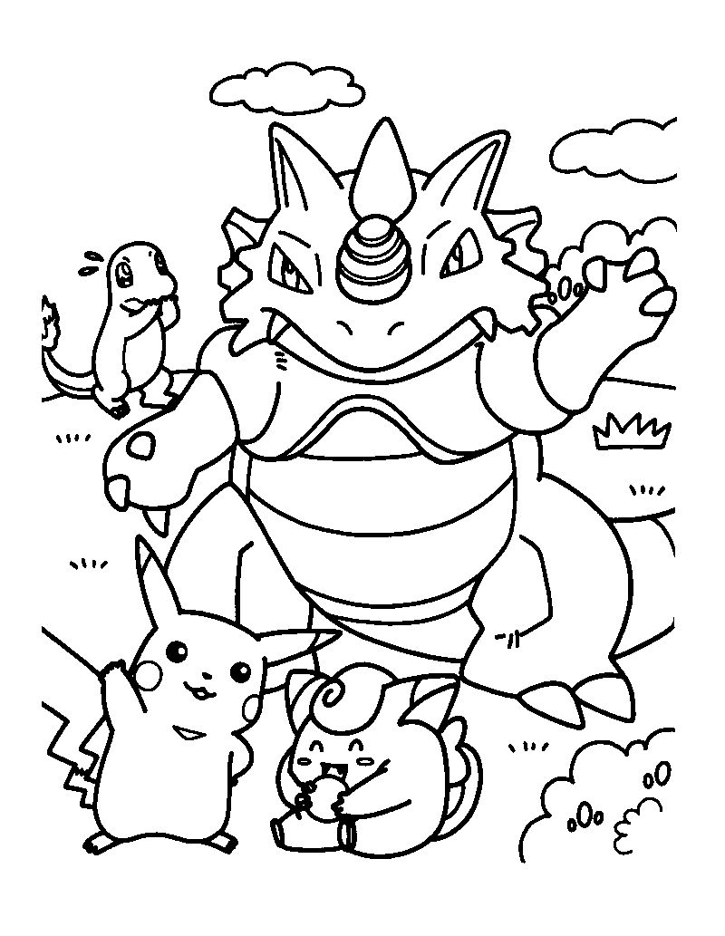 Ridon Clefairy And Charmander Coloring Page