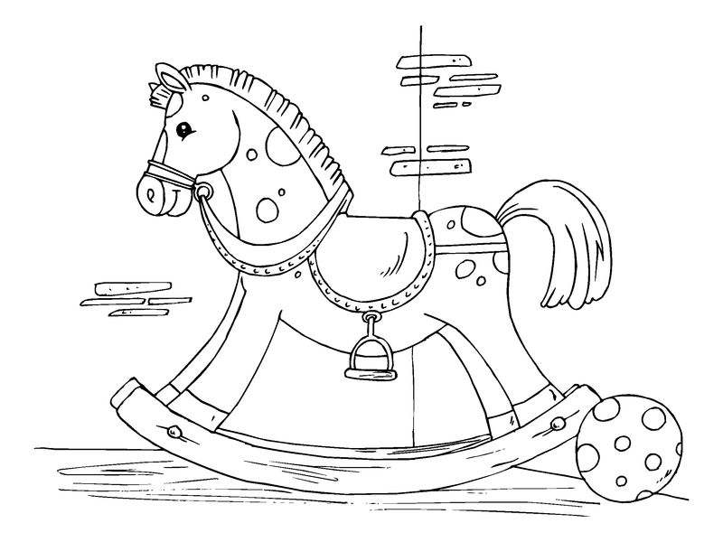 Rocking horse coloring page