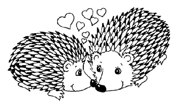 Romantic Hedgehogs Loving Each Other Coloring Page