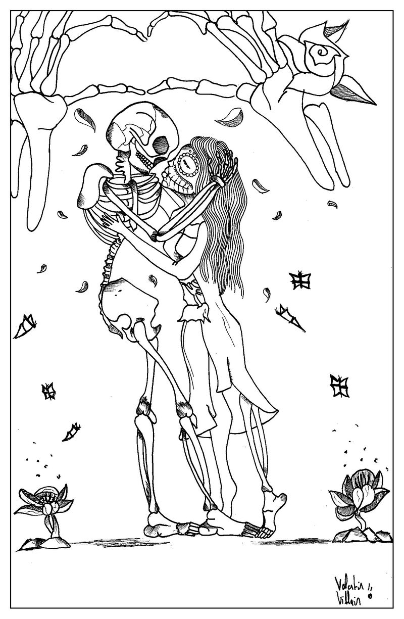 Romantic Skeletons Valentines Day Coloring Page For Adults