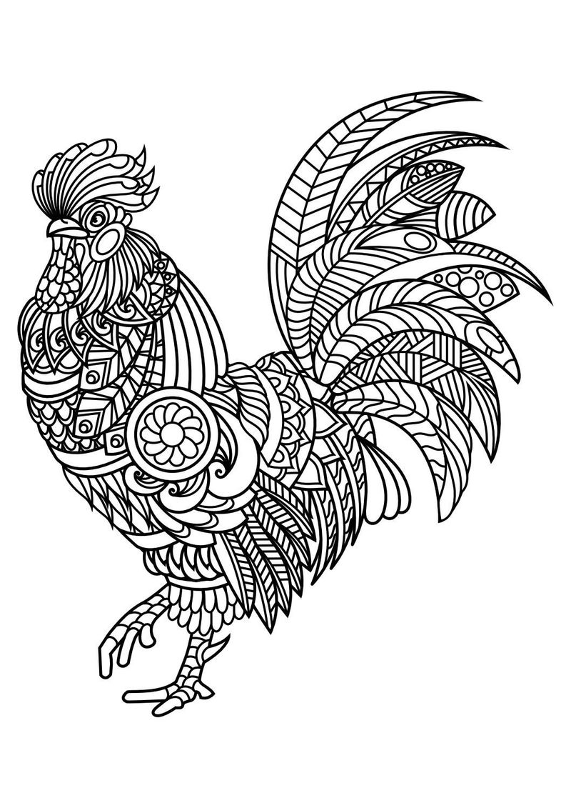 Rooster Animal Mandala Coloring Pages