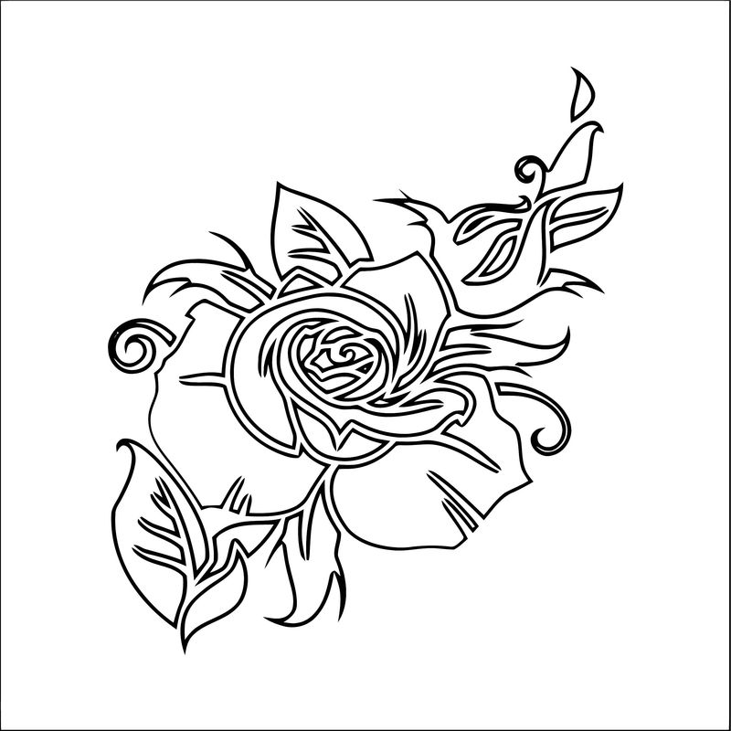 Rose flower coloring page 080