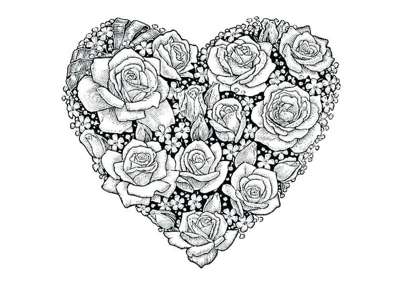 Roses Heart Shaped Coloring Page