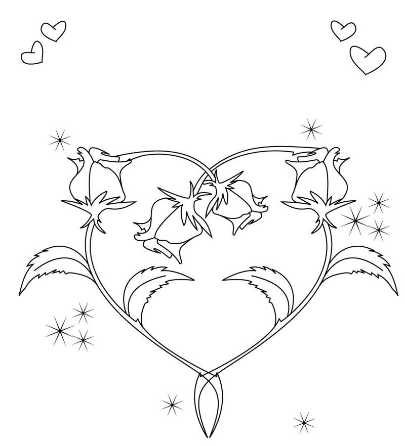 Roses Making Heart Shape Coloring Page