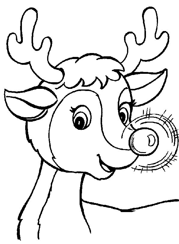 Rudolf Christmas Coloring Page For Preschoolers