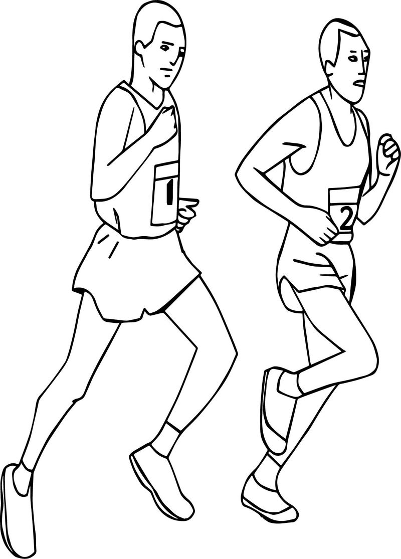 Running Sports Man Coloring Page