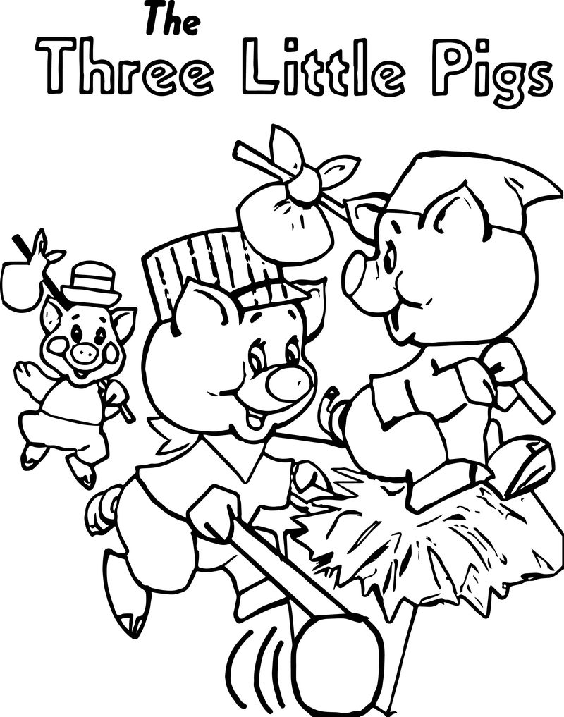 Running The Three Little Pigs Coloring Page