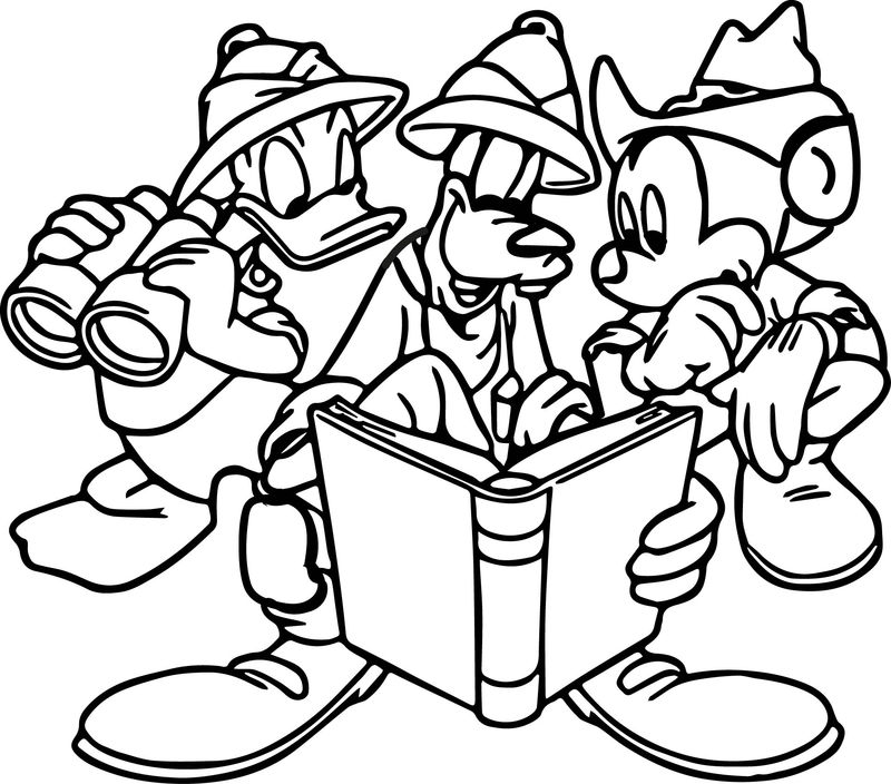 Safari Animal Kingdom Safari Mickey Donald Goofy Free Coloring Page