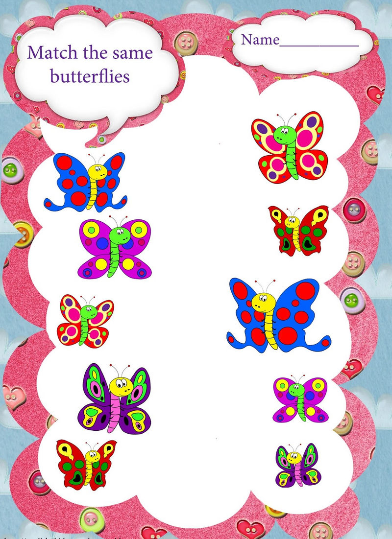 Same Different Worksheets Butterfly