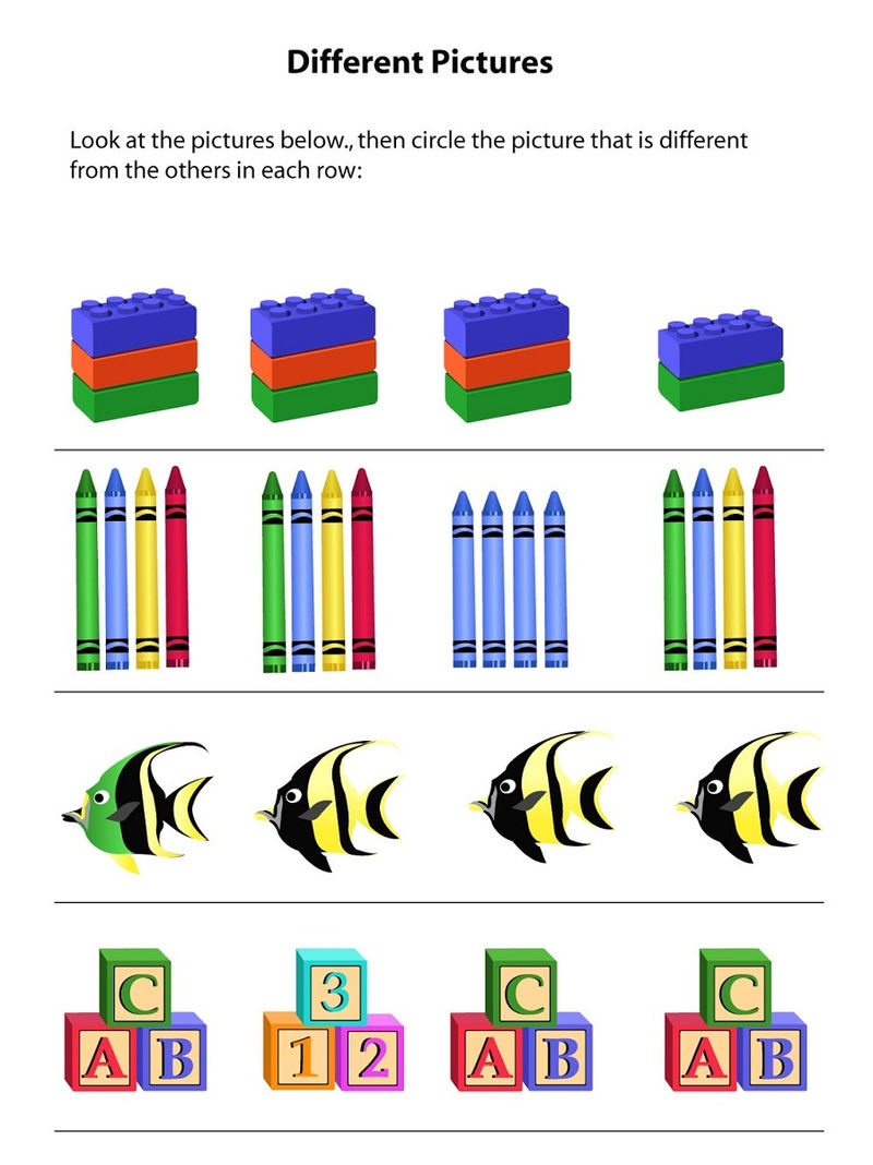 Same Different Worksheets Pictures 1