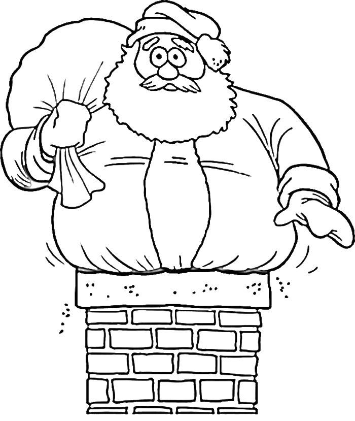 Santa Down The Chimney Coloring Page For Preschoolers