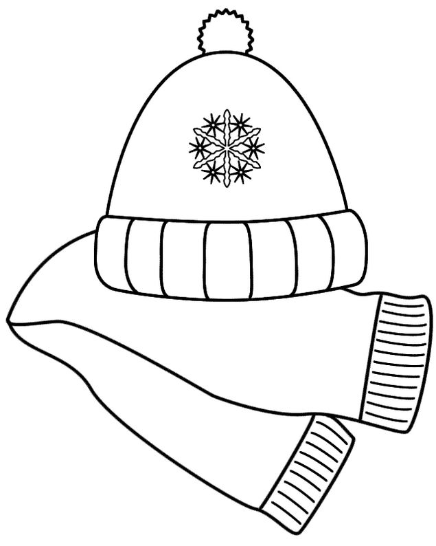 Scarf And Hat Winter Coloring Pages