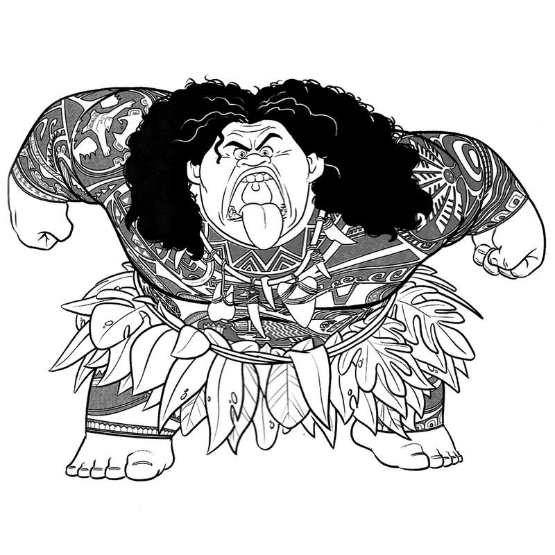 Scary Maui Moana Coloring Pages