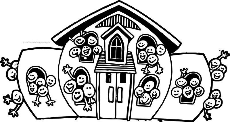 School Building Kids Coloring Page