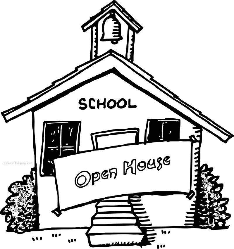 School Building Open House Coloring Page