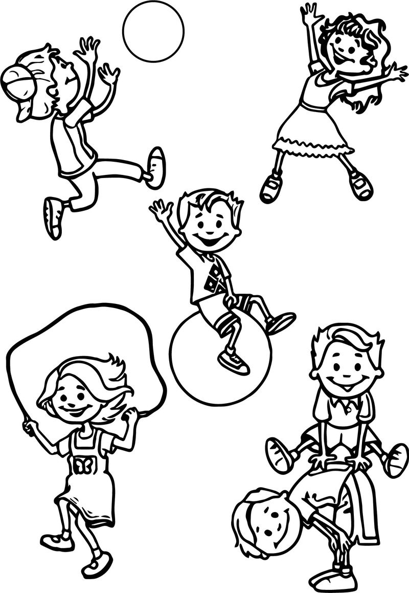 School Games Plays Activity Coloring Page