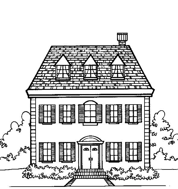 School House Coloring Page 001