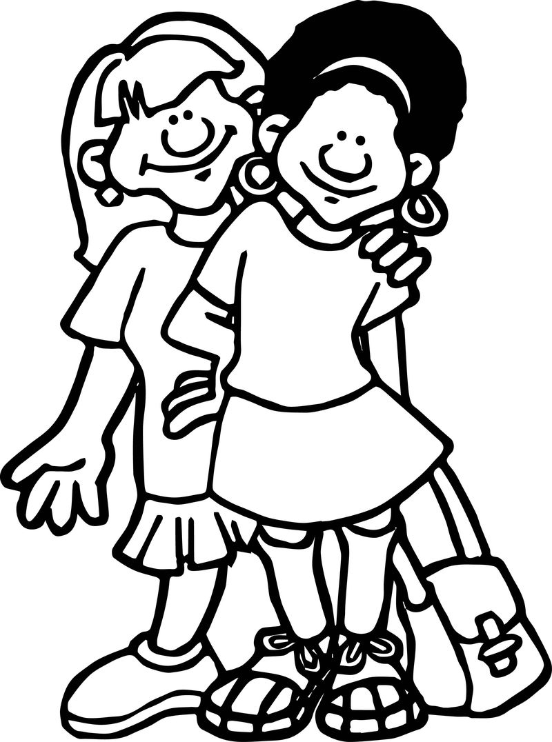 School Students Best Friends Coloring Page