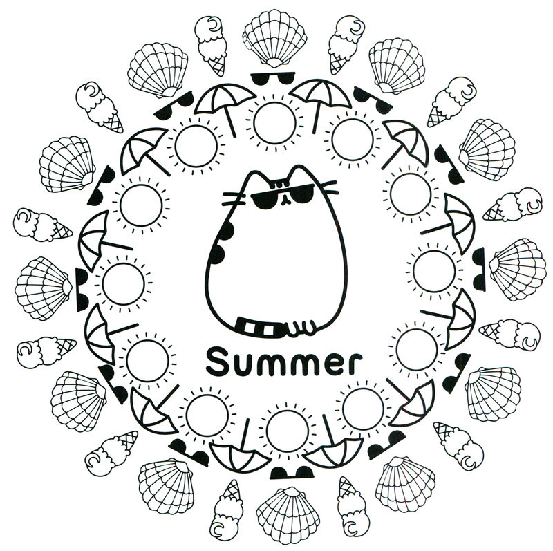 Season summer pusheen coloring page