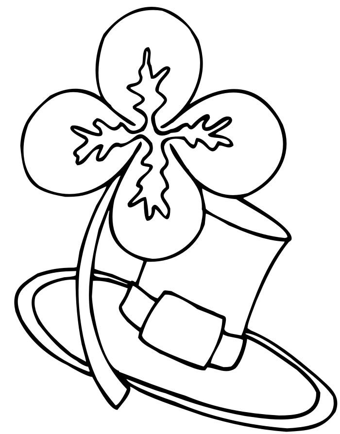 Shamrock And Hat St Patricks Day Coloring Pages