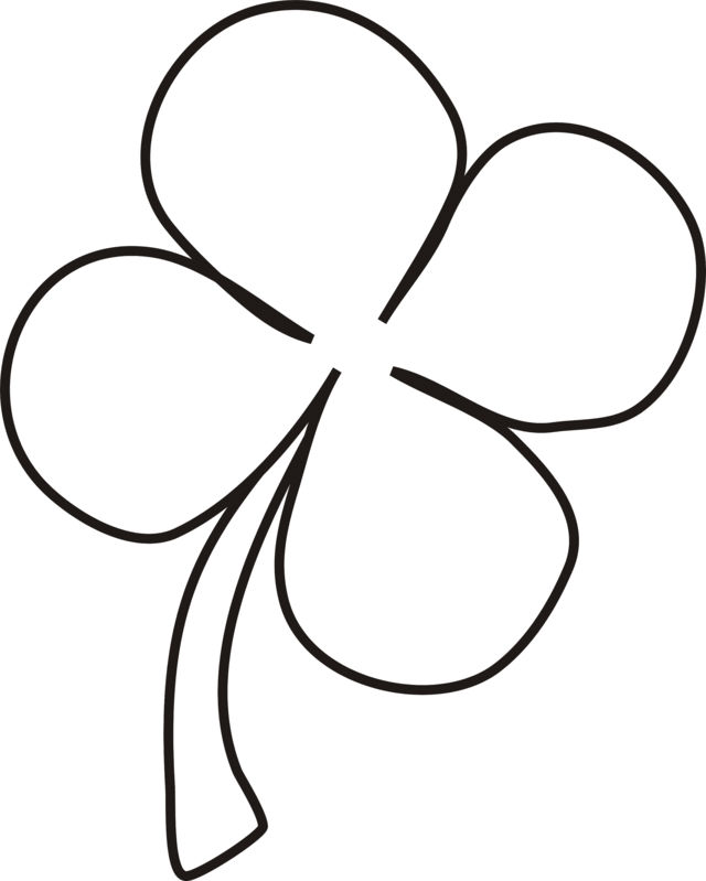 Shamrock Four Leaf Clover Coloring Page
