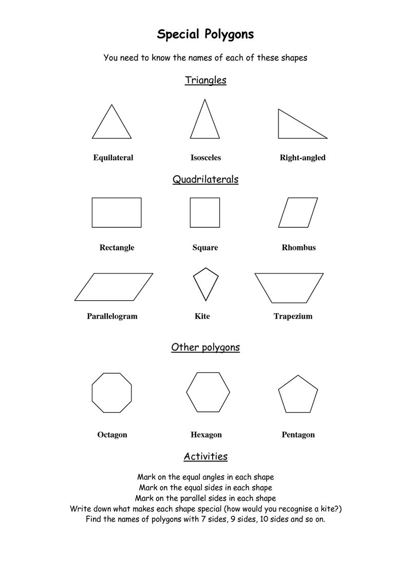 Shapes And Sides Polygons 001