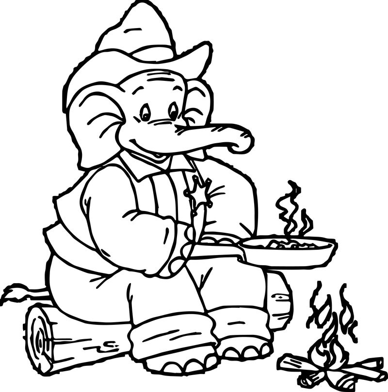 Sheriff Elephant Coloring Page