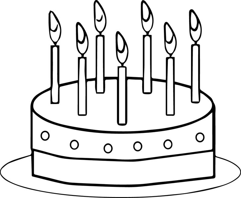 Short Birthday Cake Coloring Page