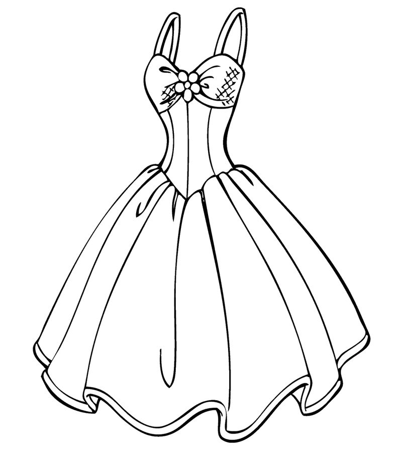 Short Vintage Wedding Dress Coloring Page Design