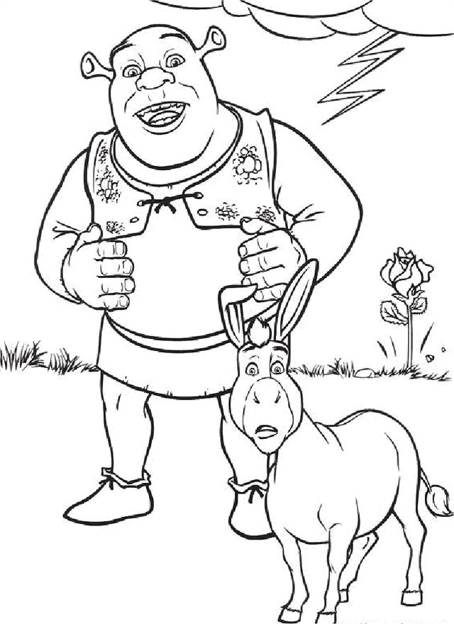 Shrek And Dolphin Coloring Sheet