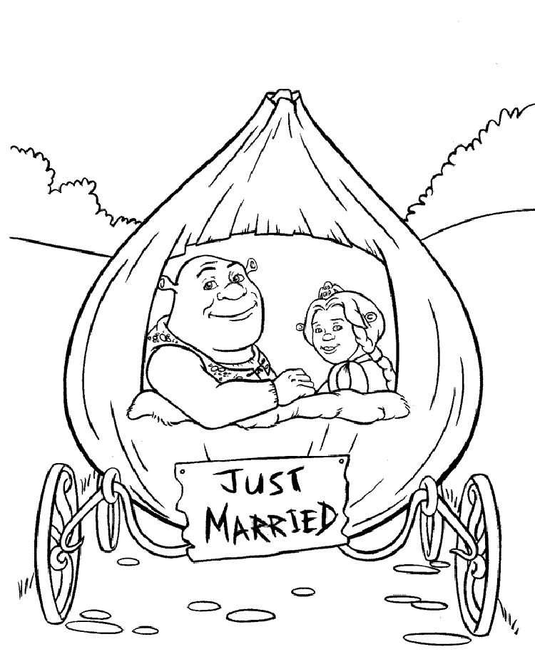 Shrek Wedding Coloring Pages 001