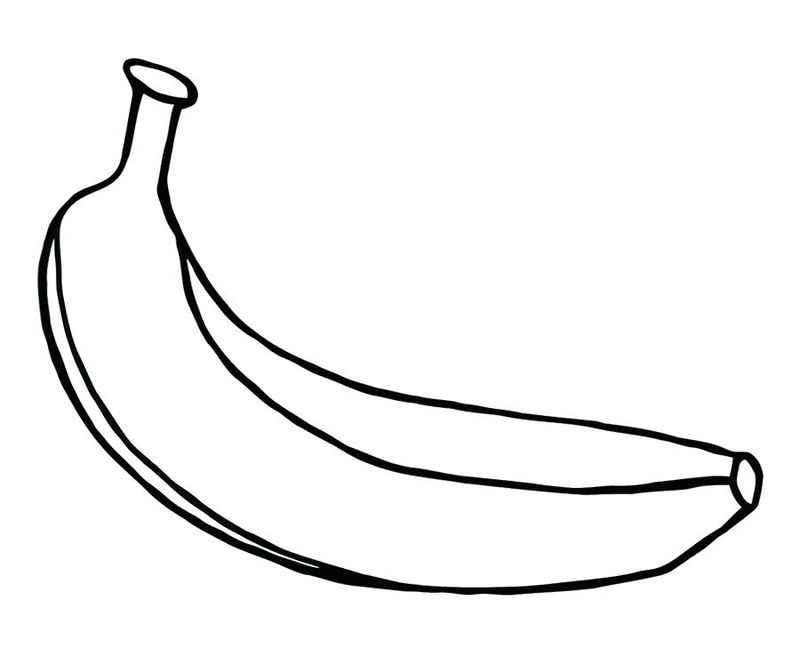 Simple Banana Fruit Coloring Pages