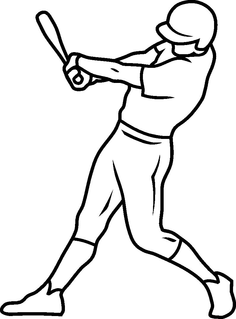 Simple Baseball Coloring Page 001