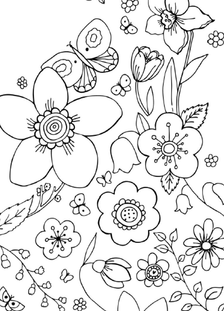 Simple Flower Design Coloring Page For Adults