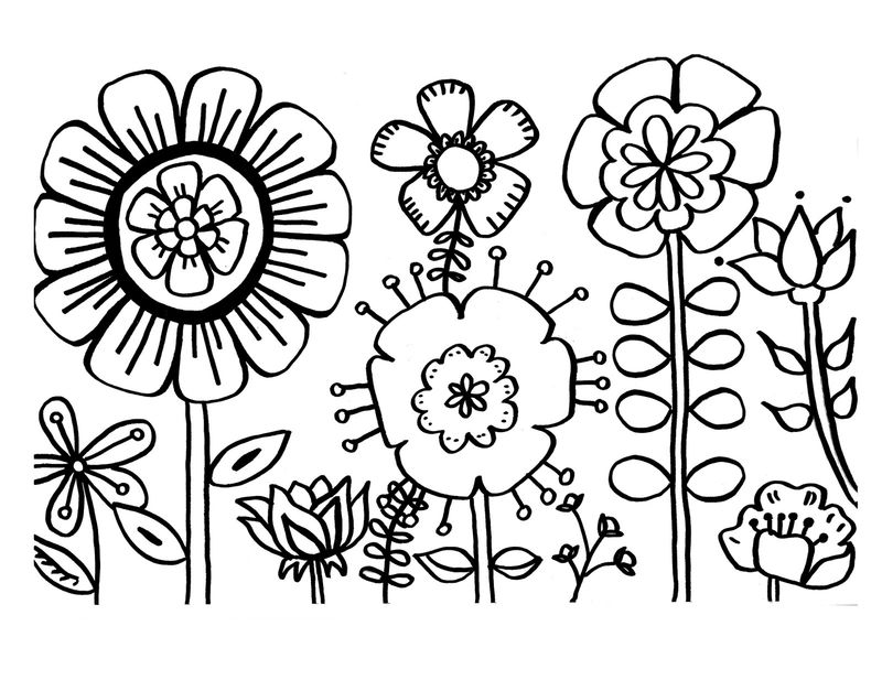 Simple Flowers Coloring Pages For Teens