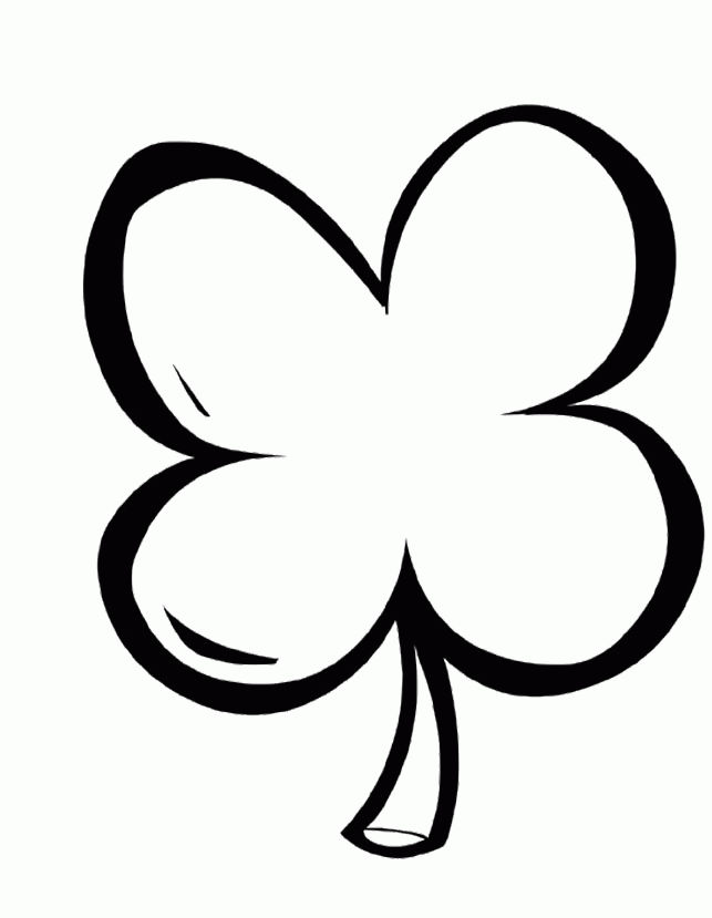 Simple Four Leaf Clover Coloring Pages