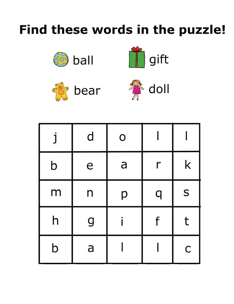 Simple Word Search Preschool