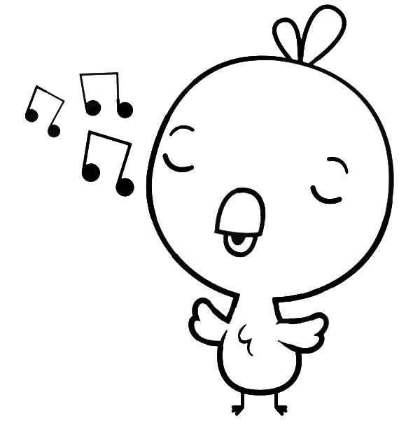 Singing Chick Coloring Page