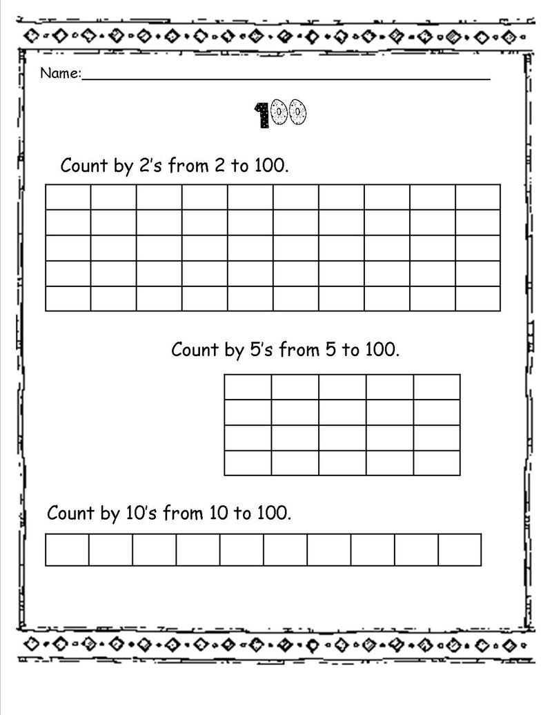 Skip Count Worksheets By 100