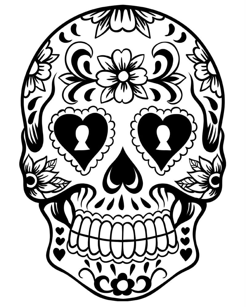 Skull Art Day Of The Dead Coloring 001
