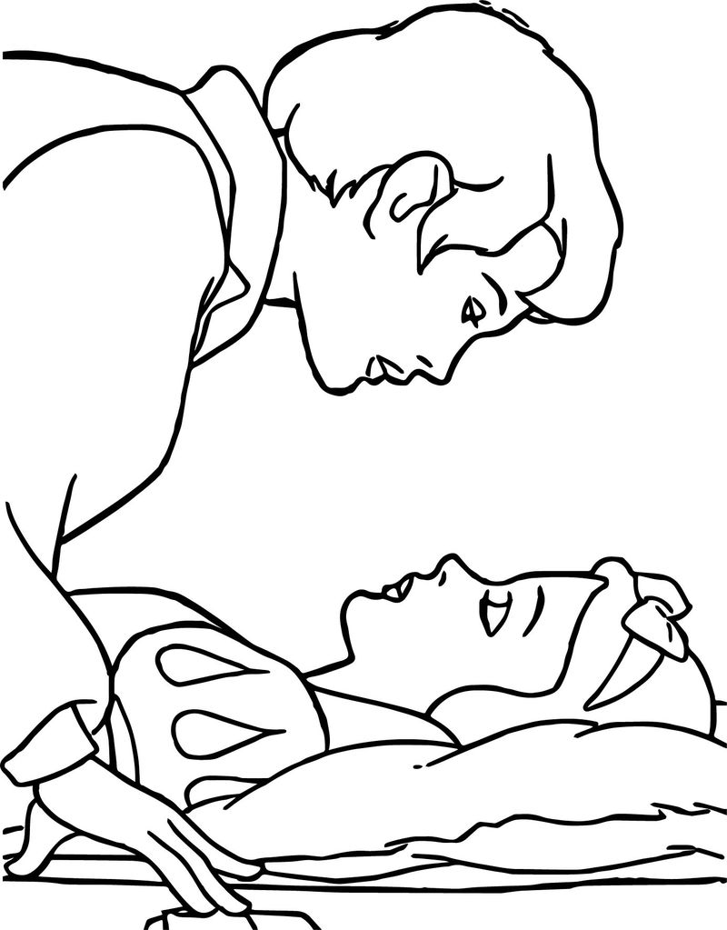 Sleep Snow White And The Prince Coloring Page