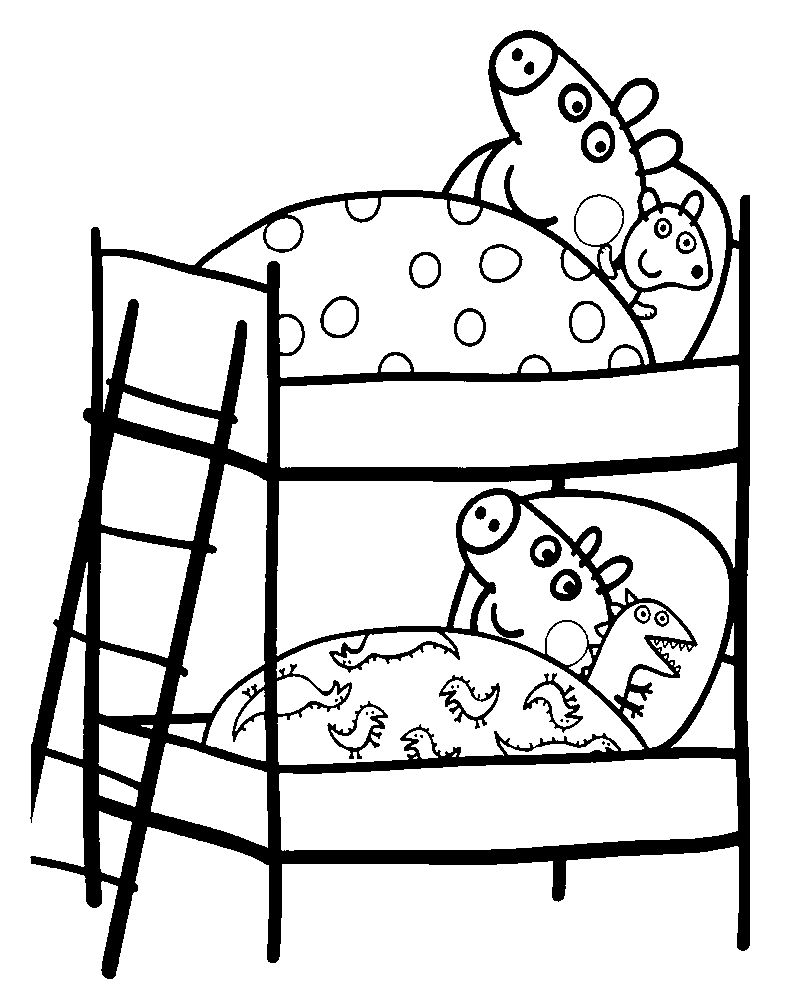 Sleeptime Peppa Pig Coloring Pages